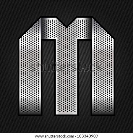 Letter metallic chromium ribbon - M, vector 10eps