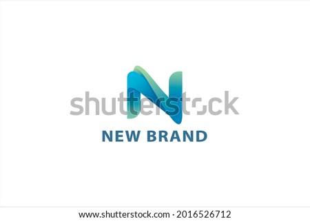 Letter N creative 3d blue color technological business logo Foto stock ©