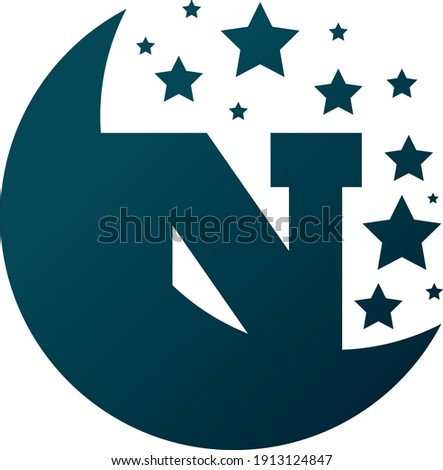 Letter N Hidden in Half Moon with shining stars. Foto stock ©