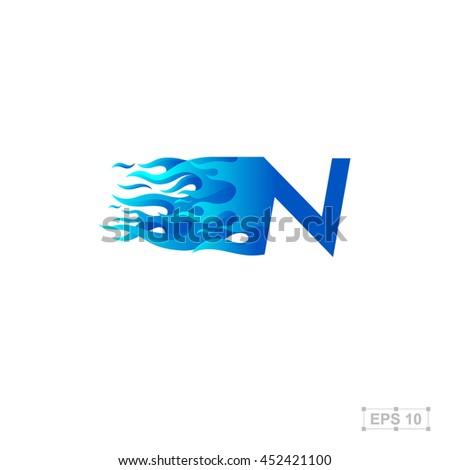 letter n logo fire fast speed