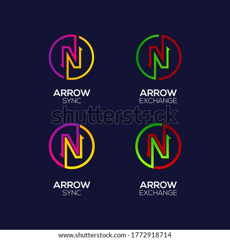 Letter N logotype with Arrows two directions connect Circle shapes, Financial Investment and Exchange logo, Reload Sync Symbol for your Business Company and Corporate identity Foto stock ©