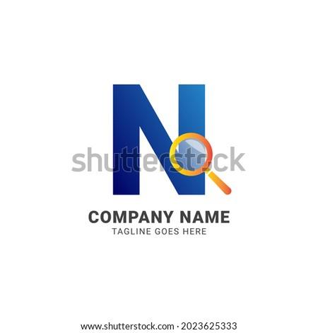 letter N magnifying glass company logo vector design element Foto stock ©