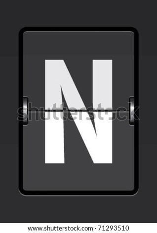 letter  n on a mechanical timetable
