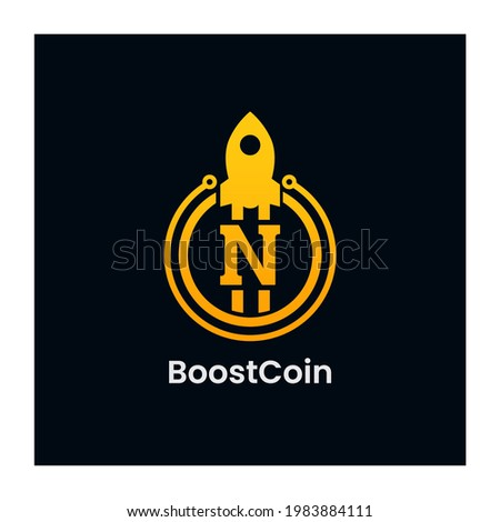 Letter N Rocket Boost Coin Logo Design