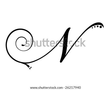 stock vector Letter N Script