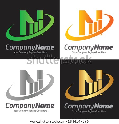 Letter N vector logo template, Colorful Letter N logo, Financial Company Logo, Financial Institute Advisors Logo Design Template Vector Icon