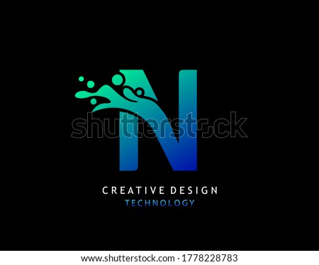 Letter N Water Splash Logo. Modern Techno Alphabetical Icon, Template Design. Foto stock ©