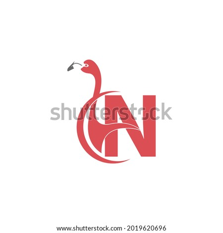 Letter N with flamingo bird icon logo vector template Foto stock ©