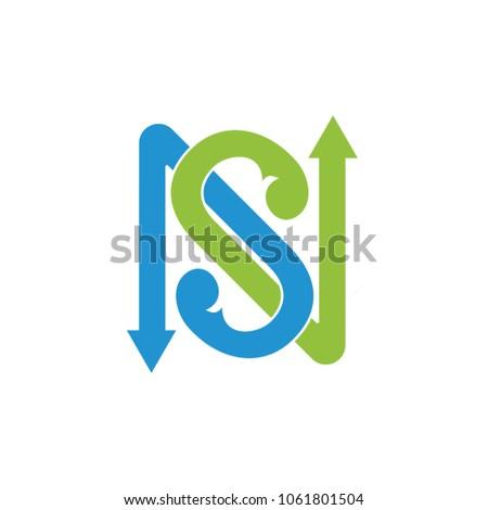 letter ns linked arrows logo Stock fotó ©