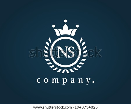 Letter NS, N or S calligraphic and crown monogram. Laurel elegant beautiful round identity. The vintage emblem for Royalty, Restaurant, Boutique, Hotel, Heraldic, Jewelry, Cafe, Brand name, label. Stock fotó ©