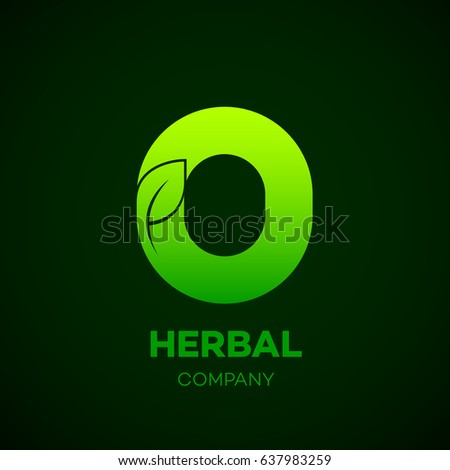 letter o green leaf  herbal