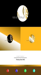 letter o logo design with luxury egg with white and golden contrast and different variations