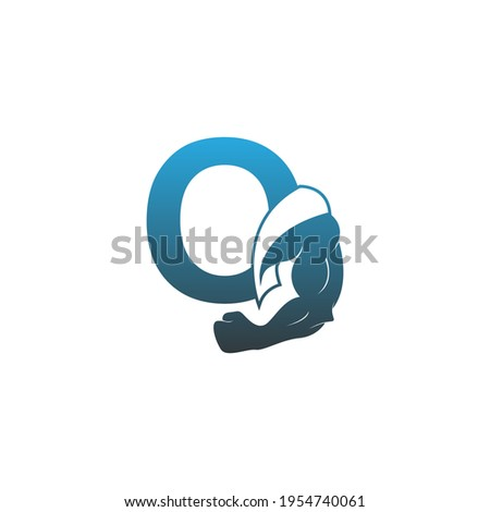 Letter O logo icon with muscle arm design vector illustration Foto stock ©