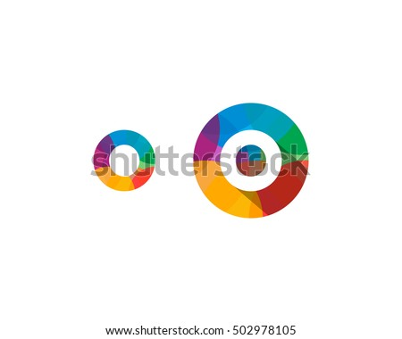 letter o multiply colorful shadow logo design template