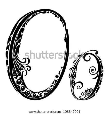 Letter O o  in the style of abstract floral pattern on a white background