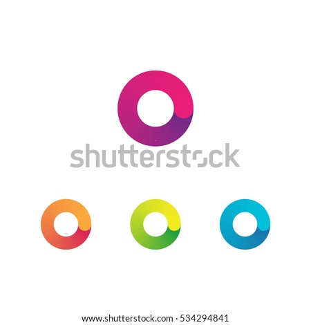 Letter O vector unusual bold rounded font. Gradient