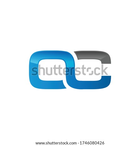Letter OC shiny technology typography logo design vector isolated on a white background Photo stock ©
