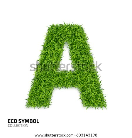 Letter of grass alphabet. Grass letter A isolated on white background. Symbol with the green lawn texture. Eco symbol collection. Vector illustration