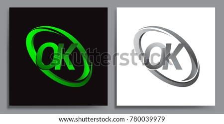 letter OK logotype design for company name colored Green swoosh and grey. vector set logo design for business and company identity.  Zdjęcia stock ©