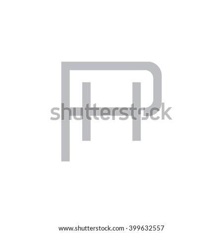 letter p and h monogram logo