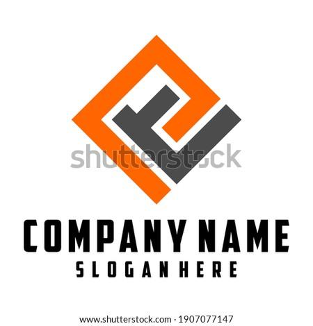 Letter P and lowercase T. Square design concept Stock fotó ©