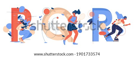 Letter P for paintball, Q for qianball and R for roller skating. Educative sport collection with young women training and having fun Stock photo ©