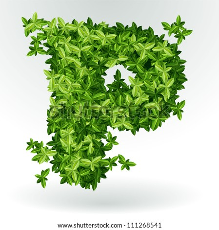 Letter P, green leaves summer vector alphabet.