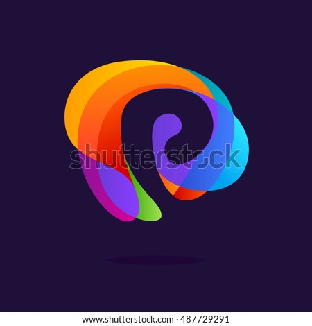 letter p logo at colorful
