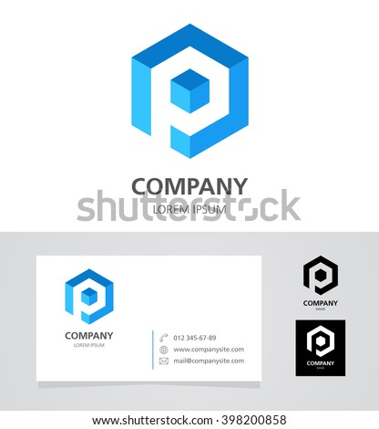 Letter P - Logo Design Element with Business Card - illustration   Vector Logotype Template