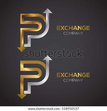 letter p logo design template gold and silver color arrow creative sign