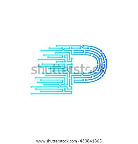 letter p logo design templatetechnologyelectronicsdigitallogotype 433841365