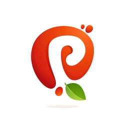 Letter P logo in fresh juice splash with green leaves. Vector elements for natural application, ecology presentation, business card or cafe posters.