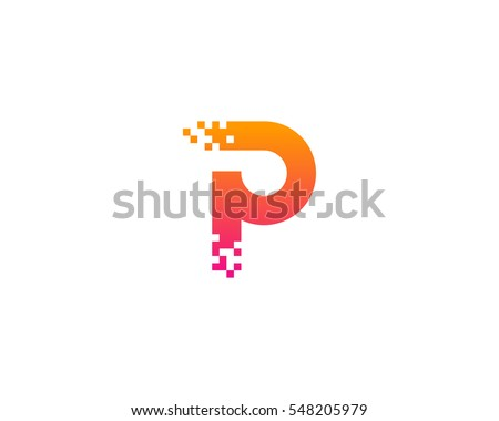 letter p pixel logo design element