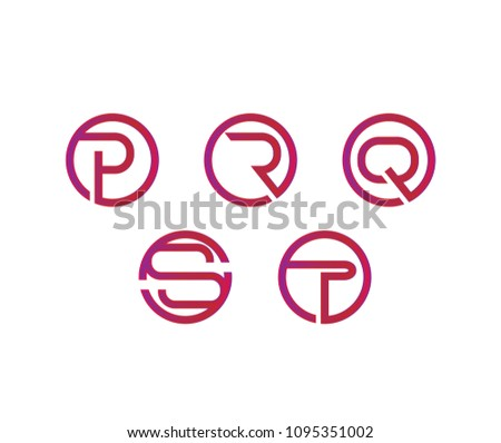 letter P, Q, R, S, T logo set for company or club Stock fotó ©