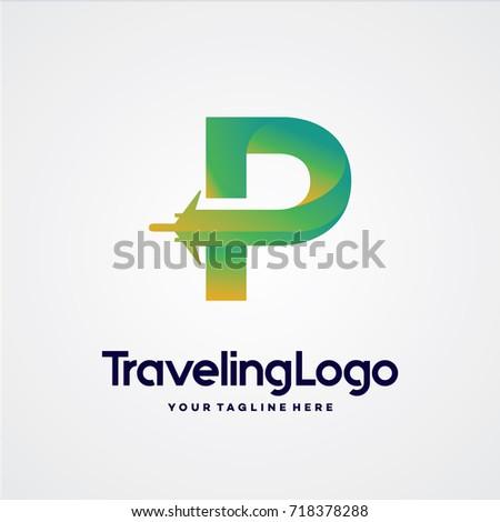 letter p travel logo template