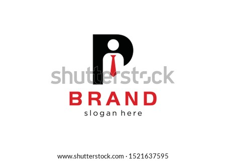 letter P with tie people concept, initials logo template, employee icon vector Zdjęcia stock ©