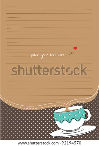 letter paper with cup and polka background for tea party