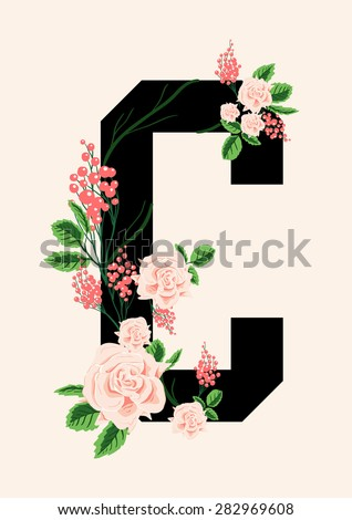 Letter print with mixed flowers for fashion or other uses in vector