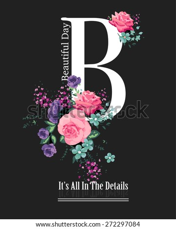 letter print with roses and
