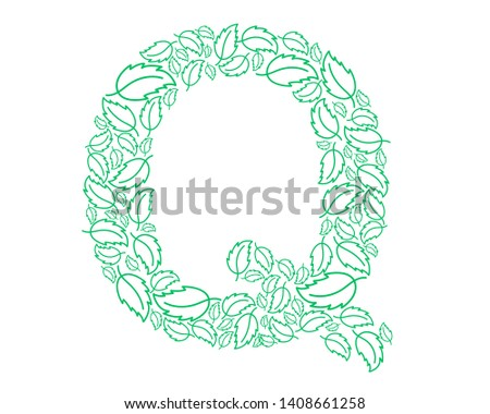 Letter Q, green leaves. Floral decorative typography.  Decorative English