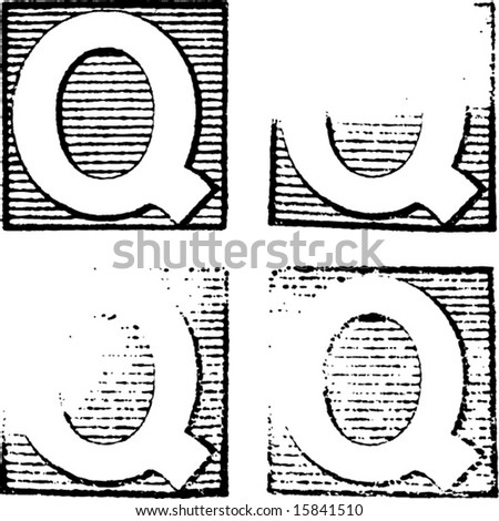 Letter Q part of a complete alphabet of vintage rubber stamp letters