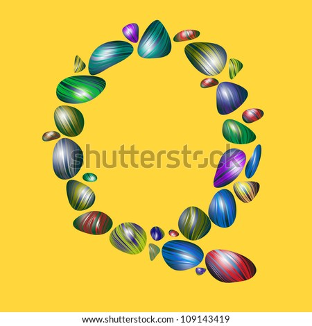 letter Q with semiprecious color stones isolated vector ABC book ...