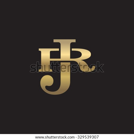letter r and j monogram golden logo stock vector