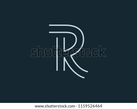 letter r and k or rk line logo design linear minimal monochrome monogram emblem