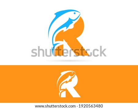 Letter R fish logo design. Vector combination of animals and letter Photo stock ©