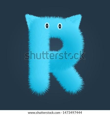 Letter R fluffy logo isolated. Alphabet vector image Stock fotó ©