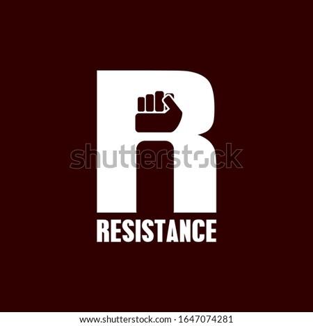 letter R for resistance logo design inspiration . demonstration icon tempalte . clench hand logo design inspiration . letter R logo design Photo stock ©