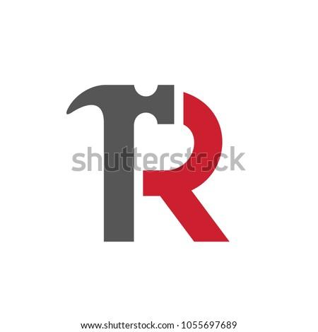 Letter R Hammer Logo, Vector Illustration