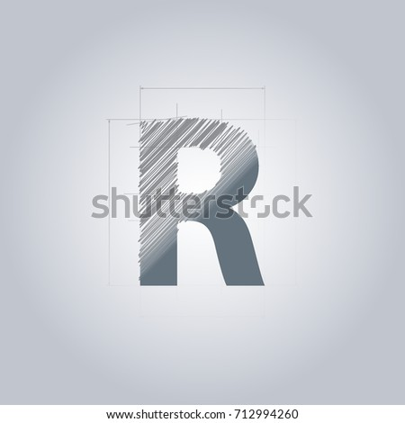Letter R logo. Alphabet logotype architectural design. Grey color. Blueprint. With gradient. Concept design template.