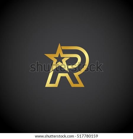 Letter R logo,Gold star sign Branding Identity Corporate unusual logo design template Stock fotó ©